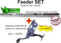 AKCIA Feedrový SET navijak so silónom + prút, 3,6m/80g