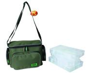 Rybarska taška s troma plastovými krabičkami