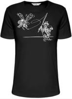 Rybárske čierne tričko s logom muškára