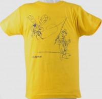 Detské rybárske tričko - žlté logom muškára