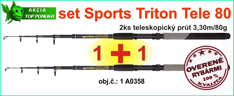 SPORTS Akciový TELE CARP set TRITON 2ks 3,3m/80g