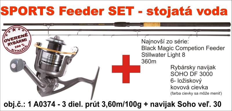Feeder SET SPORTS - rieka 3,6m/80hr + navijak DF3000